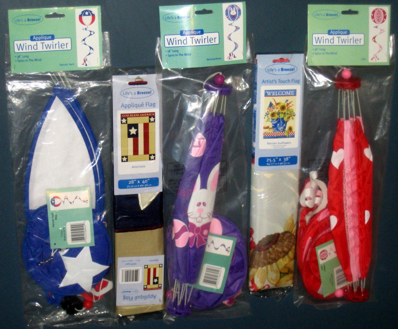 Lot 19 Decorative Garden Flags (2) + Wind Twirlers Spinners (3) Valentine Easter Patriotic NIP