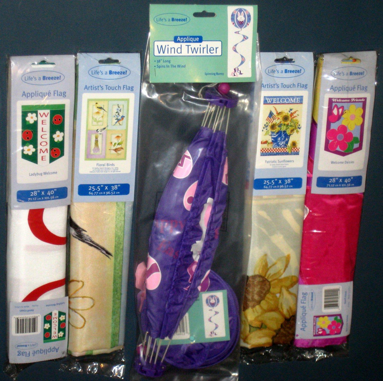 Lot 24 Decorative Garden Flags (4) + Wind Twirler Spinner (1) Birds Ladybug Easter Patriotic NIP