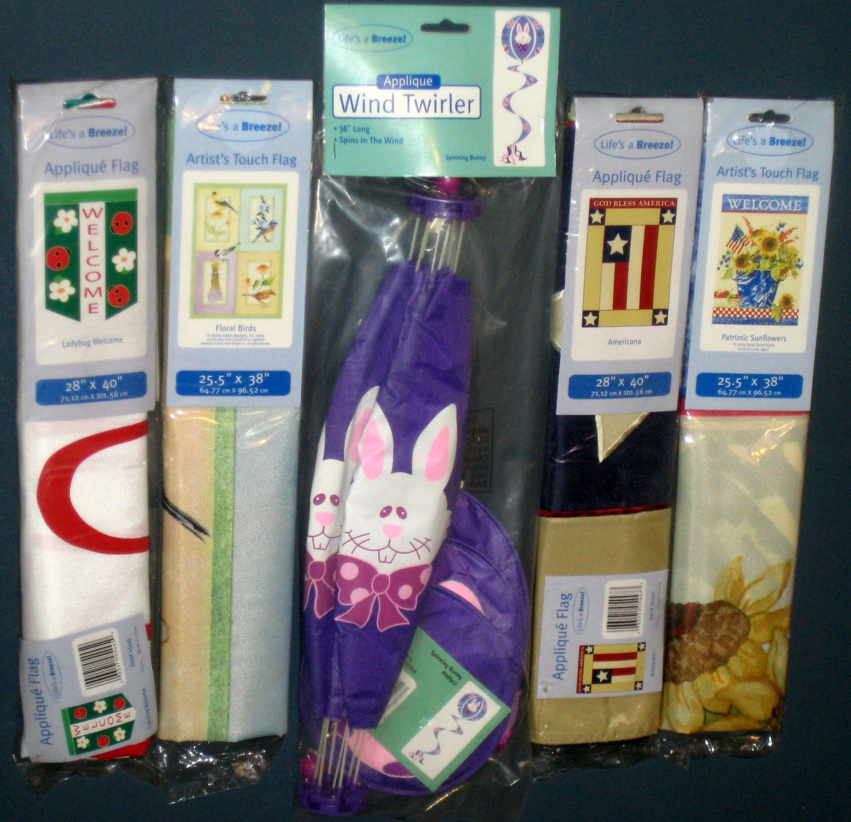 Lot 25 Decorative Garden Flags (4) + Wind Twirler Spinner Floral Birds Ladybug Easter Patriotic NIP