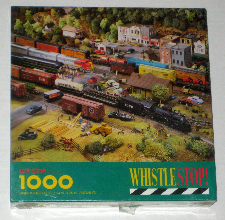 SOLD WhistleStop Whistle Stop 1000 Piece Jigsaw Puzzle Springbok PZL6146 Trains Railroads Hallmark