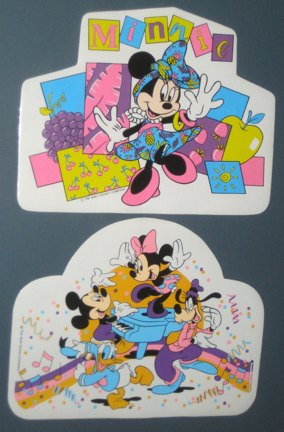 Walt Disney Vinyl Placemat Lot Place Mat Mickey Mouse Minnie Goofy Donald Duck Piano