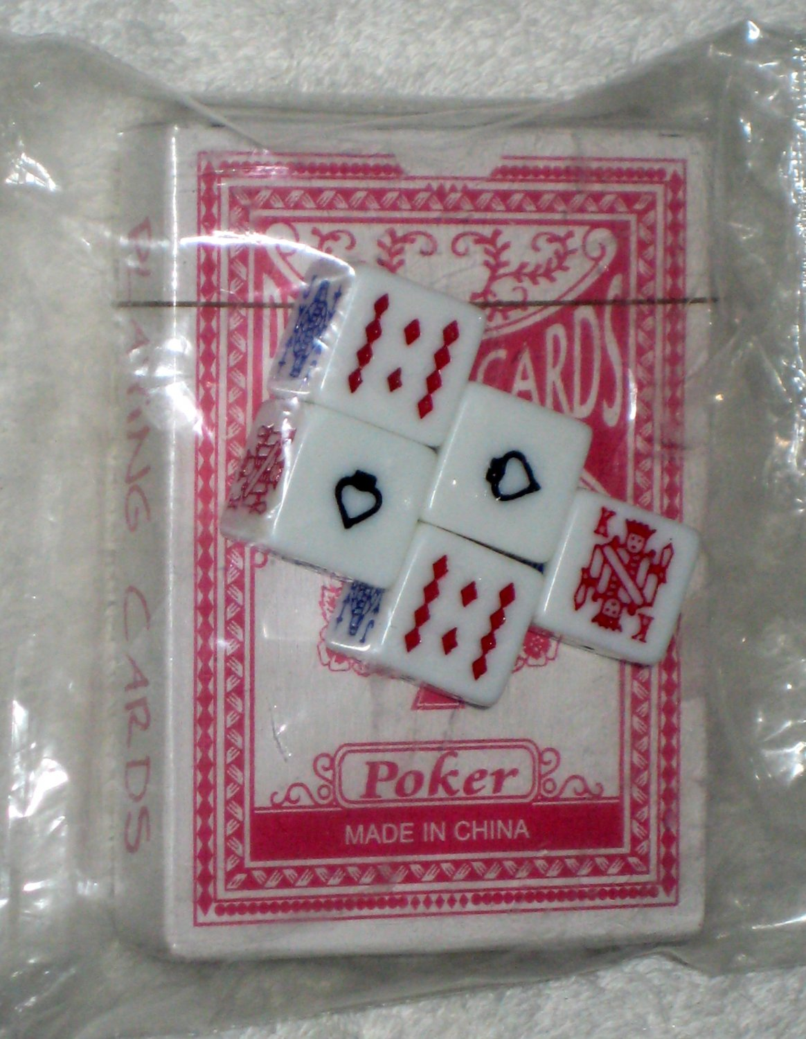 Poker Dice Set with Playing Card Deck 16mm Die 8/354 Sealed NIP