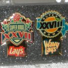 Super Bowl XXVII 27 XXVIII 28 Frito Lay Enamel Lapel Pins Wavy Lay's Potato Chips 1992 1993