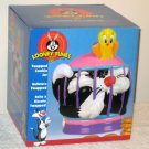 Tweety and Sylvester Twapped Ceramic Cookie Treat Jar Gibson Bird Cage Looney Tunes WB 2002 NIB