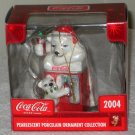 Coca-Cola Pearlescent Porcelain Ornament Polar Bear Father Son Coke Machine Bottle 2004 NIB
