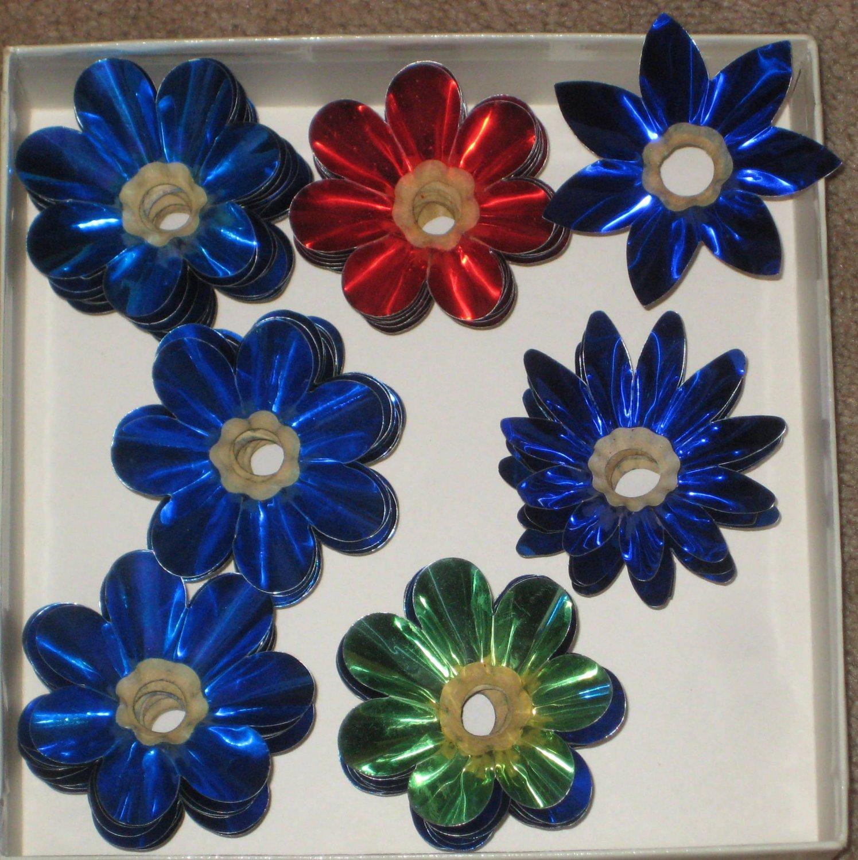 sold 54 vintage aluminum christmas light reflectors lamp c 7 bulb tin foil flower blue red green