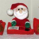 Plush Pull String Vibrating Sledder Christmas Ornaments Lot Santa Claus Bear Reindeer
