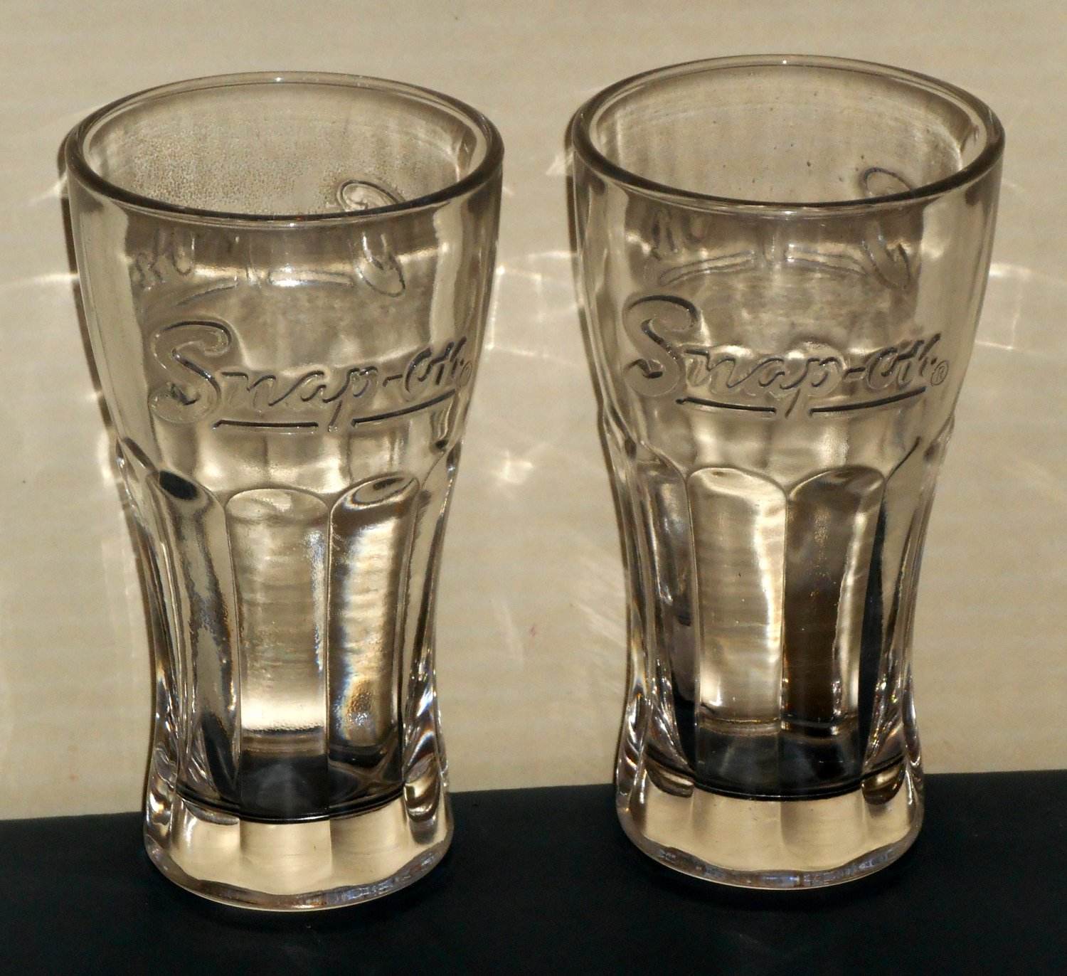 Snap-On Tools Clear Soda Drinking Glass Lot of 2 Embossed Tumblers Heavy Thick