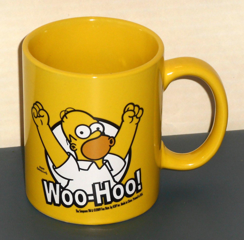 SOLD OUT Homer Simpson Woo Hoo Ceramic Yellow Coffee Mug Cup Homer The Simpsons Fox TV