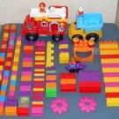 Mega Bloks Building Blocks Lot Firetruck Fire Engine Dump Truck Fireman Dog 140+ Pieces