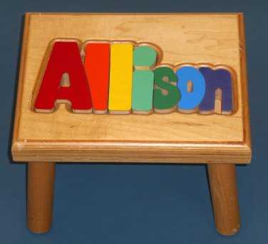 Awesome Allison Wooden Name Puzzle Stool Step Bench Foot Colors Gmtry Best Dining Table And Chair Ideas Images Gmtryco