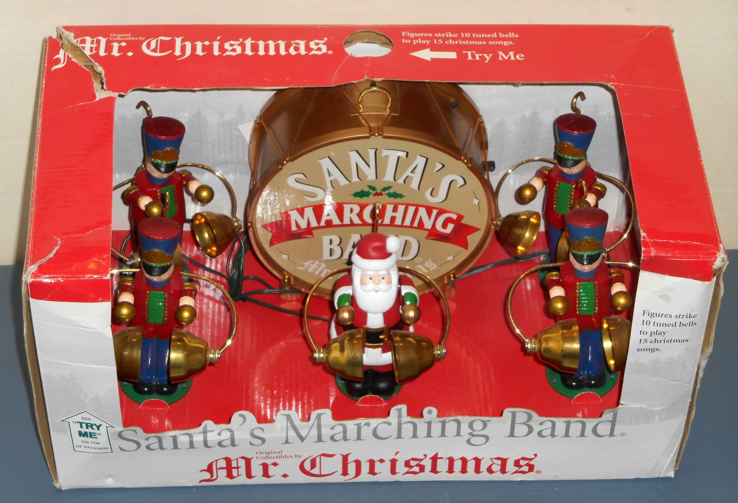 sold out mr christmas santas marching band 23601 animated musical soldiers 10 brass bells 15 songs