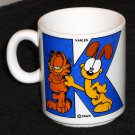 Garfield the Cat Odie Dog Karles Letter K Ceramic Coffee Mug Cup