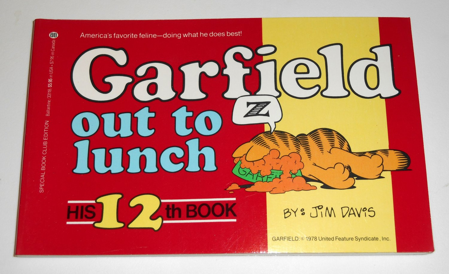 Garfield Out To Lunch His Twelfth 12th Book Cat Paperback Soft Cover Odie PAWS Jim Davis