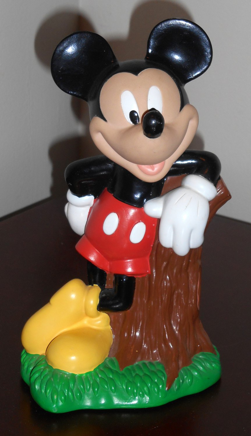 Disney Mickey Mouse 8 Inch Plastic Novelty Piggy Bank Money Coin Tree Stump Just Toys 1994