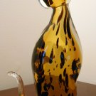 Fifth Avenue Crystal 9 Inch Glass Cat Figurine Figure 5th Clear Gold Black Leopard Spots Design