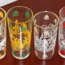 Vintage Colonial Williamsburg Drinking Glass Lot Crests Public Gaol Horse Carriage Dancing Tumblers