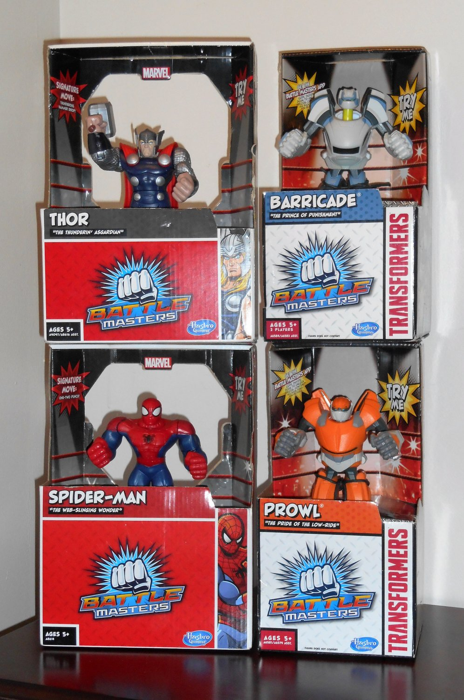 Hasbro Gaming Battle Masters Lot Thor Spider-man Prowl Barricade Marvel Transformers NIP 2013