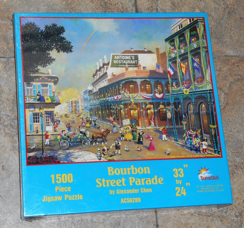 Bourbon Street Parade 1500 Piece Jigsaw Puzzle Mardi Gras SunsOut AC56289 SEALED