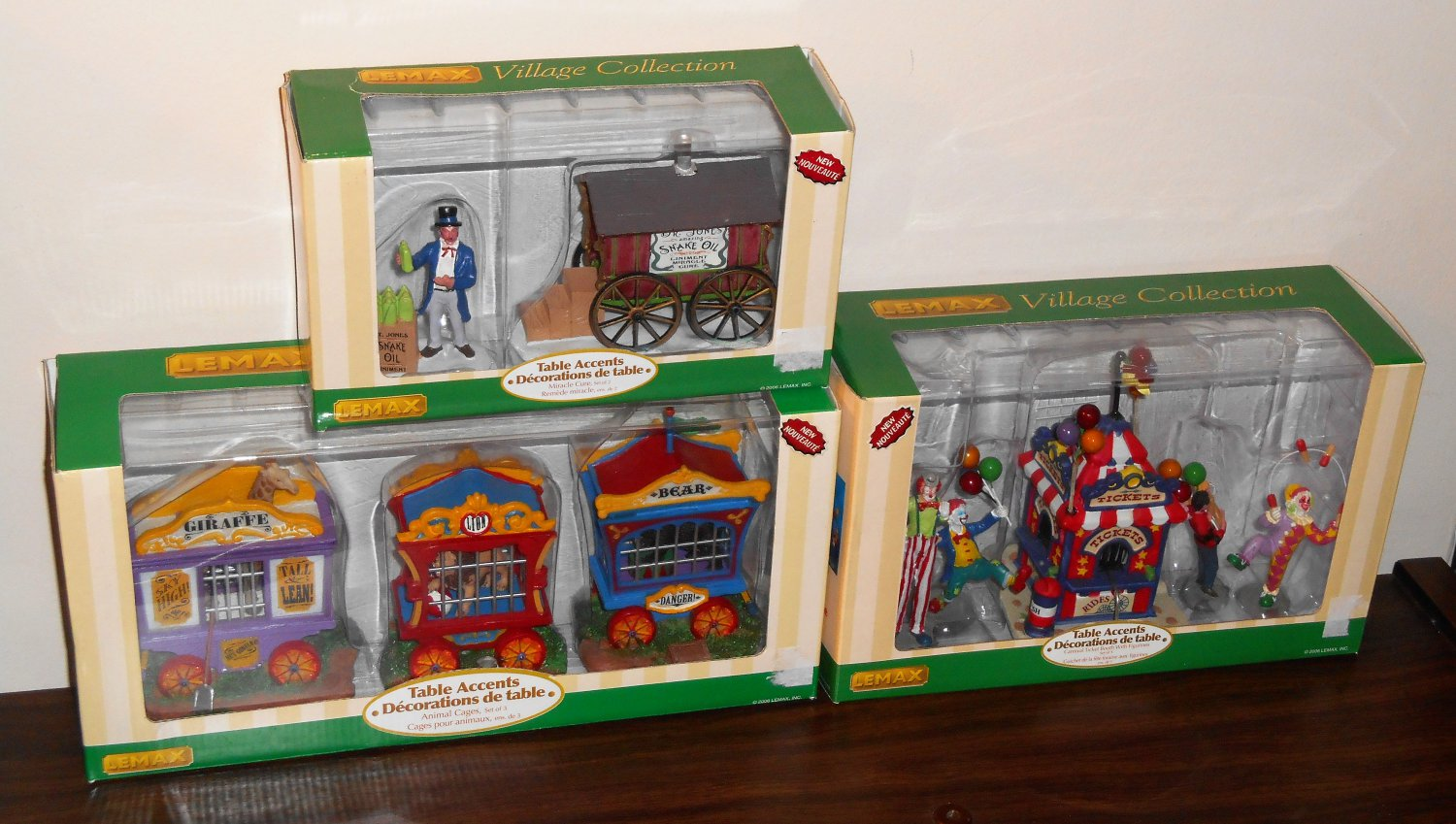 Lemax Circus Village Collection Lot 63581 63582 63563 Table Accent Polyresin Figurines 2006 NIB