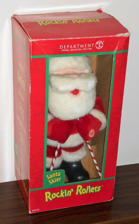 Department Dept 56 Plush Santa Claus Skier Rockin' Rollers Animated Sings 31756