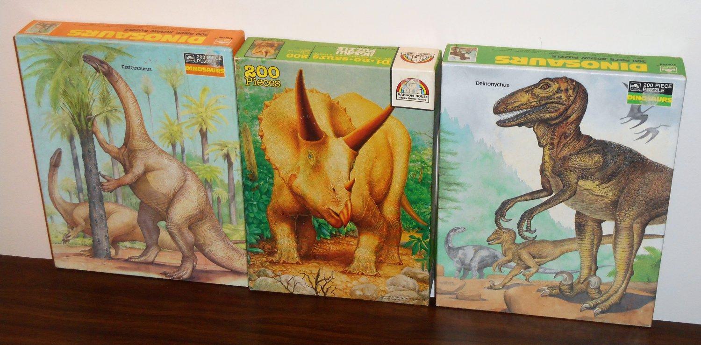 Dinosaurs 200 Piece Jigsaw Puzzle Lot NIB Plateosaurus Deinonychus Triceratops Golden Random House