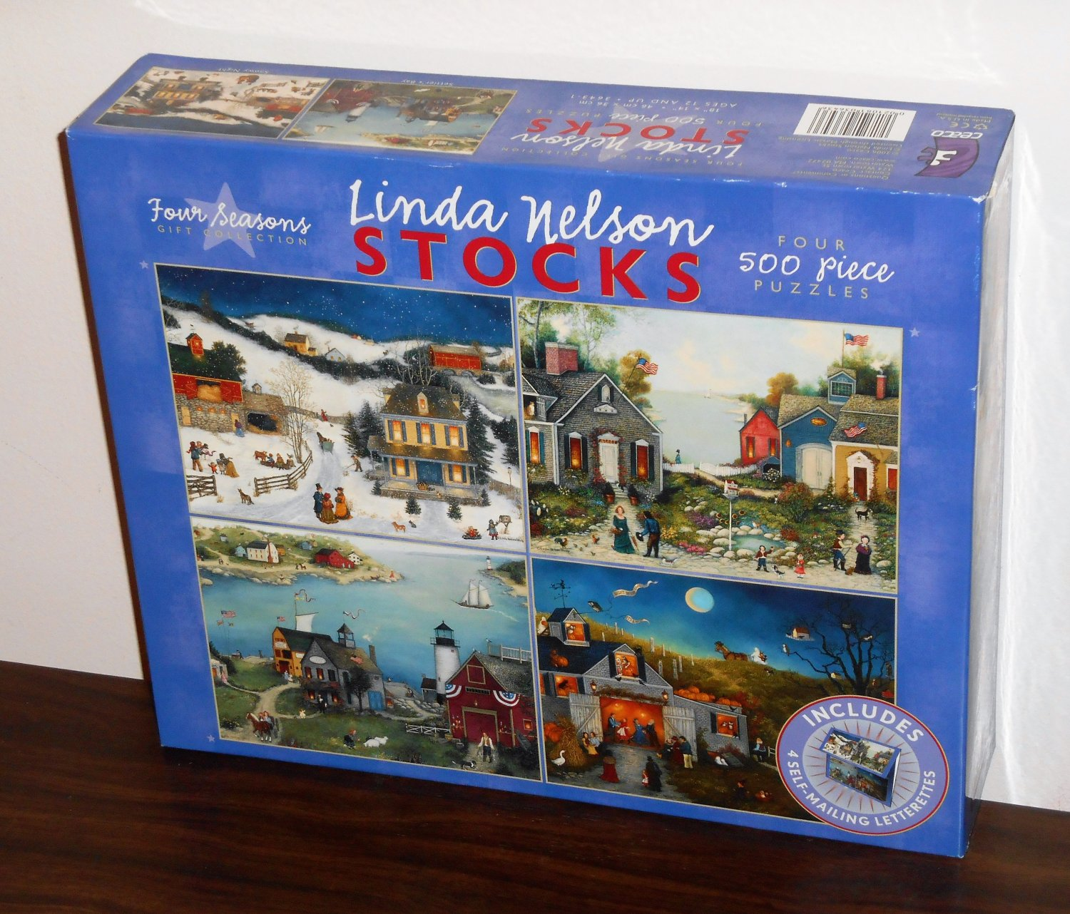 Linda Nelson Stocks 4 500 Piece Jigsaw Puzzle Set 3643-1 Four Seasons Gift Collection NIB