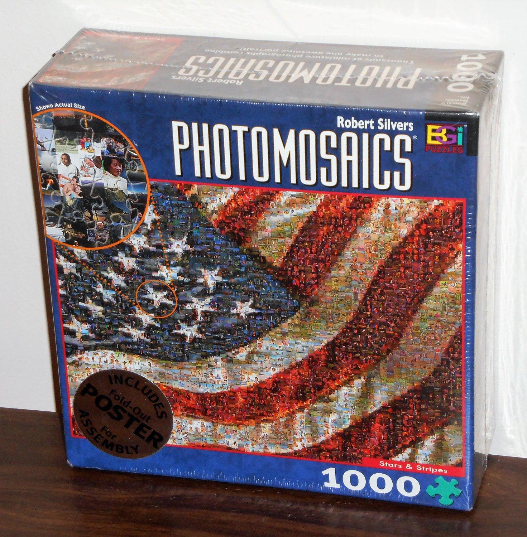 Stars and Stripes 1000 Piece Jigsaw Puzzle Photomosaics Robert Silvers NIB