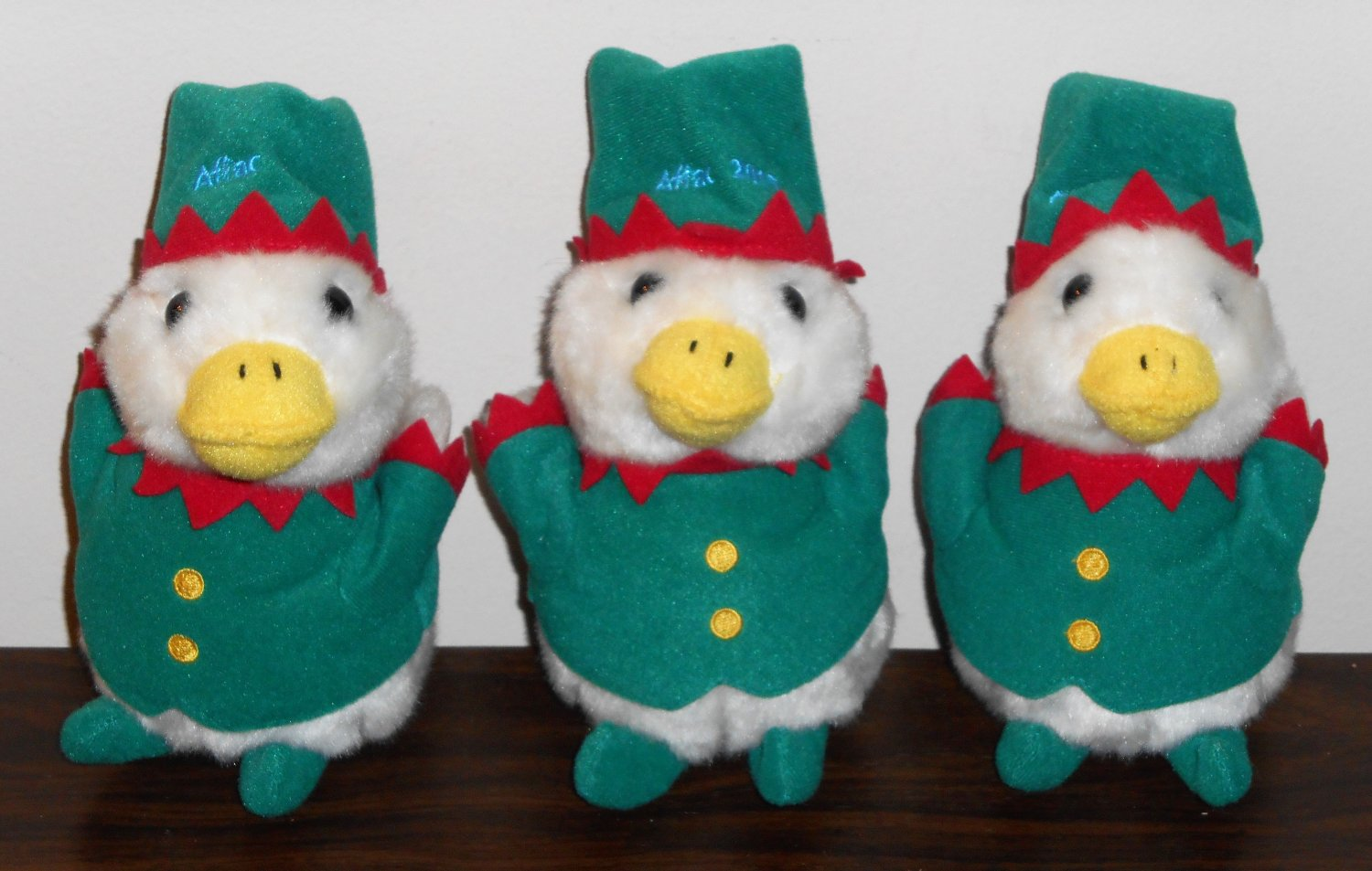 Aflac Talking Elf Duck 6 Six Inch Plush Toy 2015 Lot of 3 Three Index Promotions
