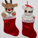 Rudolph and Clarice 16 Inch Christmas Stockings Nose Cheek Lights Red Nosed Reindeer