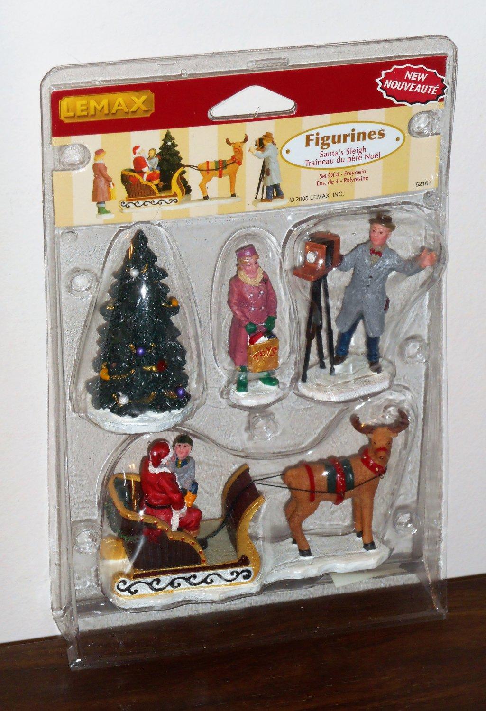 Lemax Christmas Village Collection Figurines 52161 Santa's Sleigh Photographer Set of 4 2005 NIB