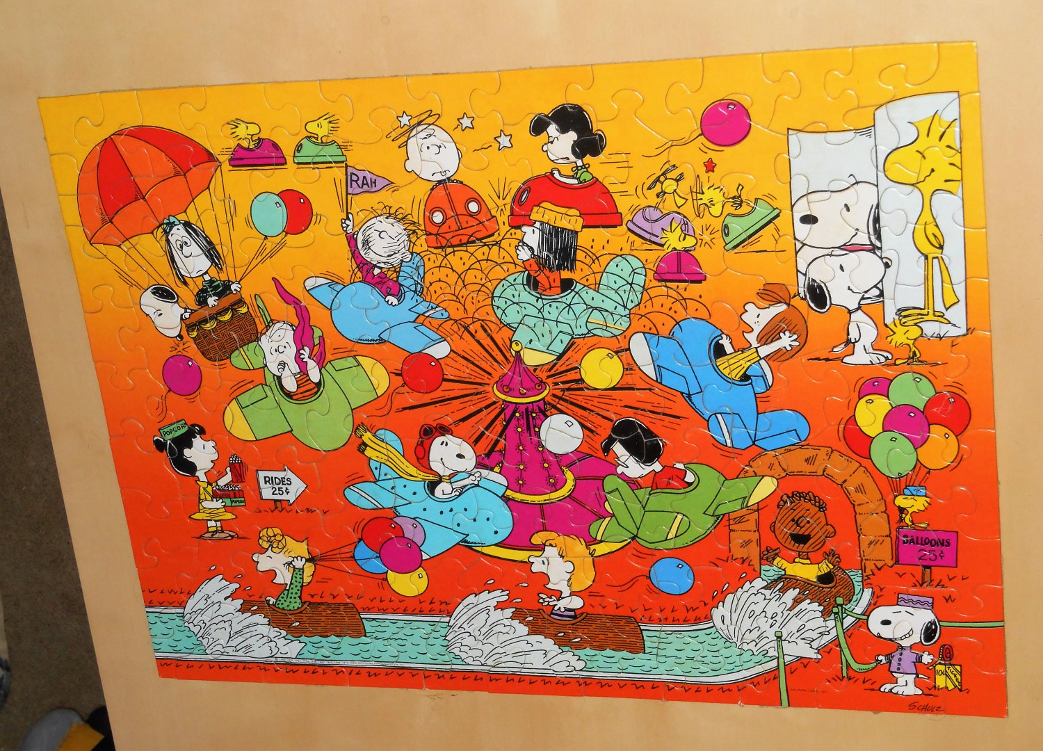 Springbok PZL1171 Peanuts Gang 100 Piece Jigsaw Puzzle A Fun Day at the Park Hallmark 1977 Complete