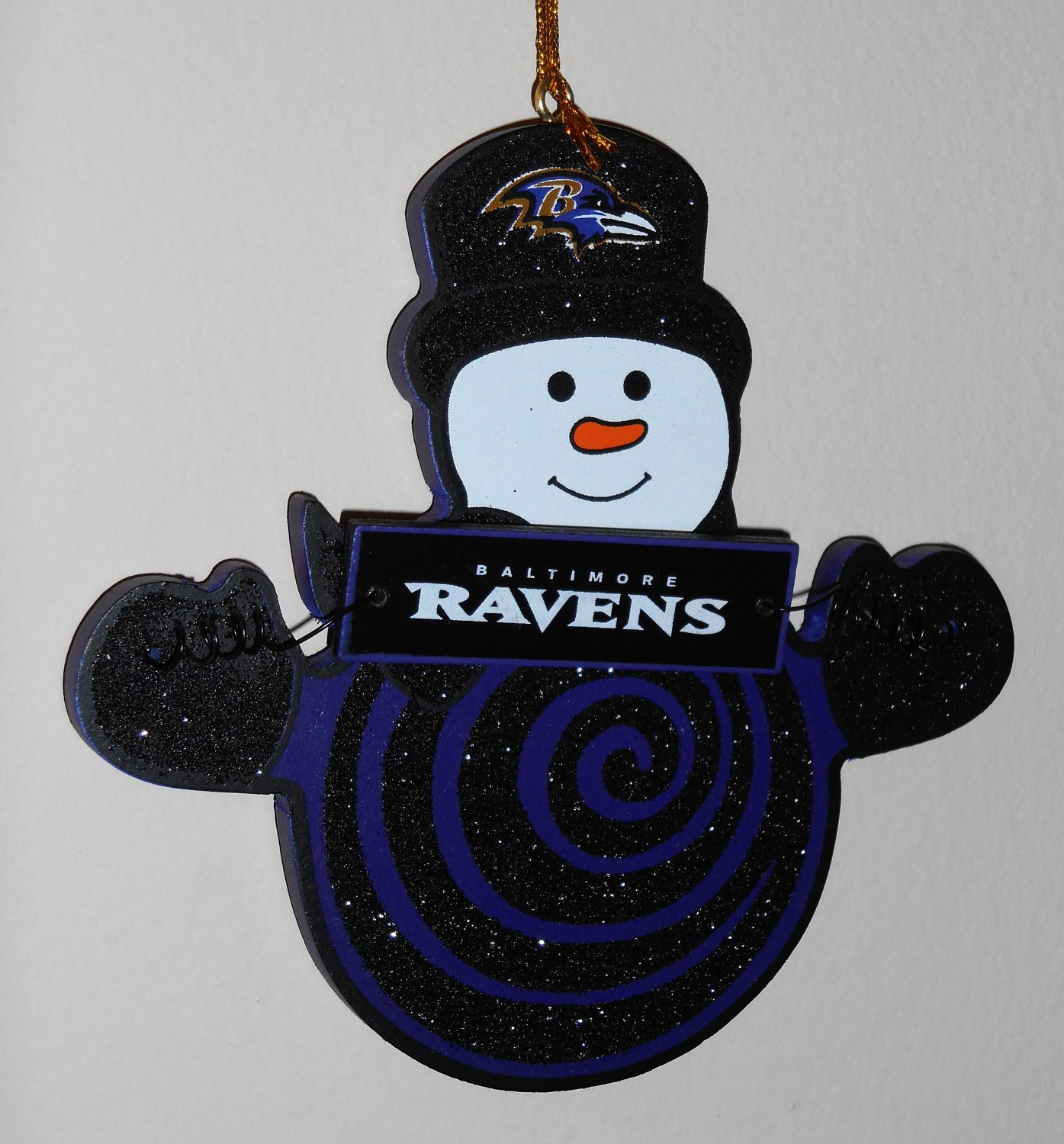 Baltimore Ravens Wooden Snowman with Sign Holiday Christmas Ornament Lot of 2 Football NFL