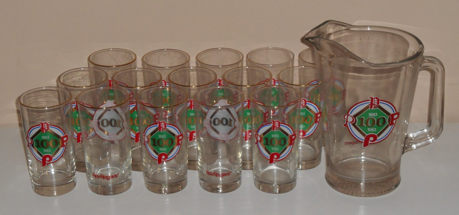 Philadelphia Phillies Roy Rogers 15 Drinking Glasses with Pitcher Promo 1883-1983 100 Years Libbey
