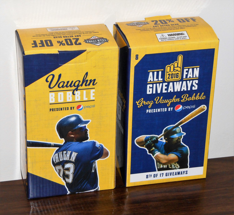 Greg Vaughn Bobblehead Bobble Head Resin Figurine Lot of Two Milwaukee Brewers 2016 Pepsi MLB