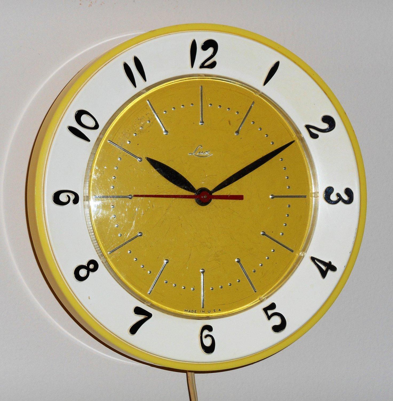 Vintage Lux Kitchen Wall Clock Retro Colors Yellow White Plastic ...