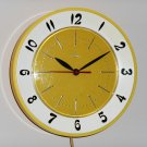 Vintage Lux Kitchen Wall Clock Retro Colors Yellow White Plastic Plugin Seven Inch Diameter