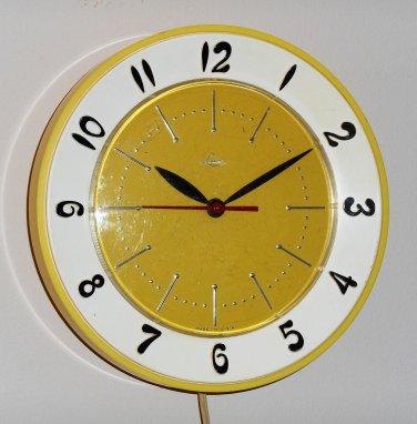 Vintage Lux Kitchen Wall Clock Retro Colors Yellow White