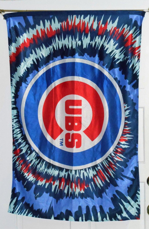 Chicago Cubs Cloth Banner Flag 28 x 42 Burst Baseball MLB