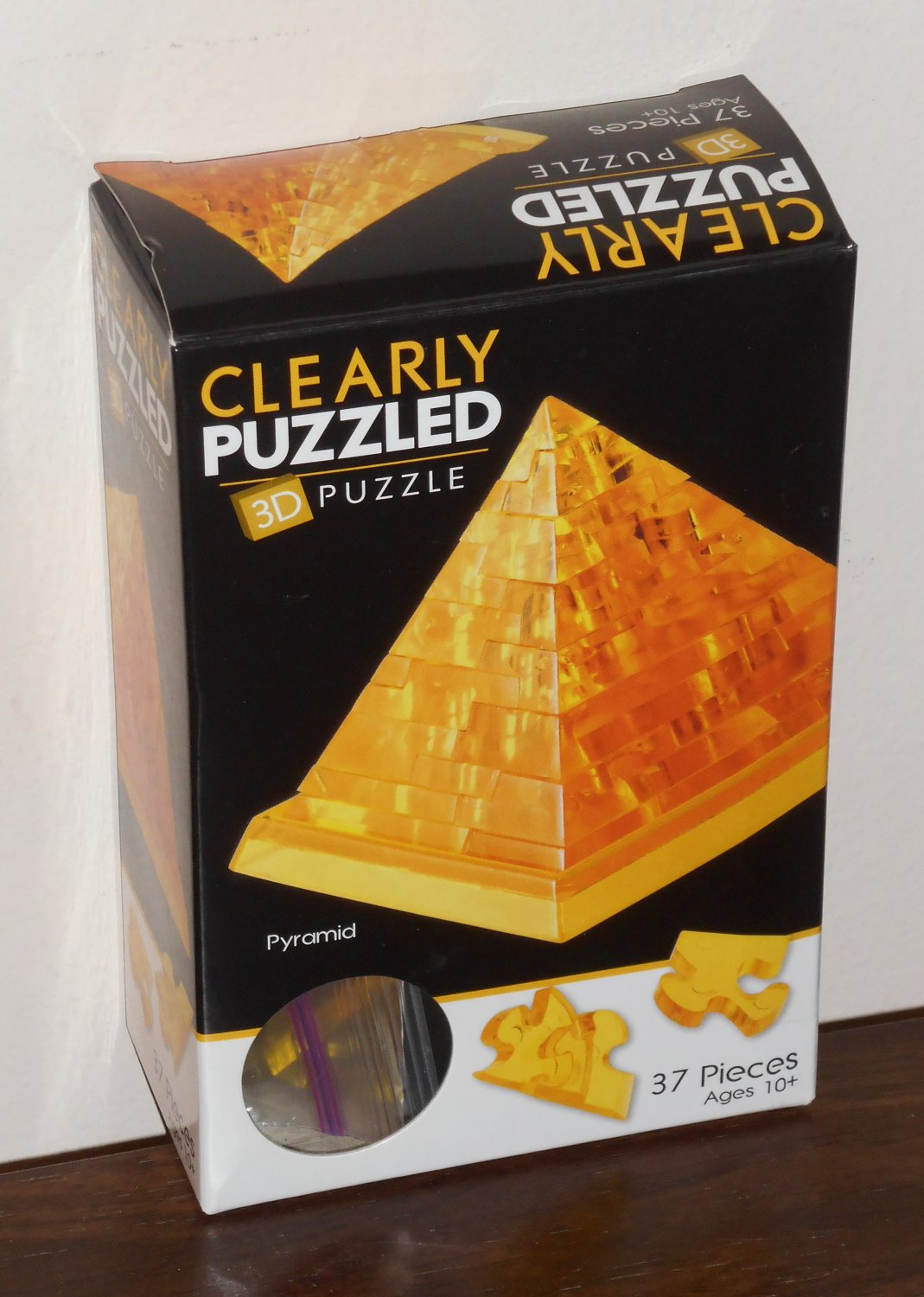 Clearly Puzzled 3D Plastic Puzzle Pyramid 37 Pieces Complete