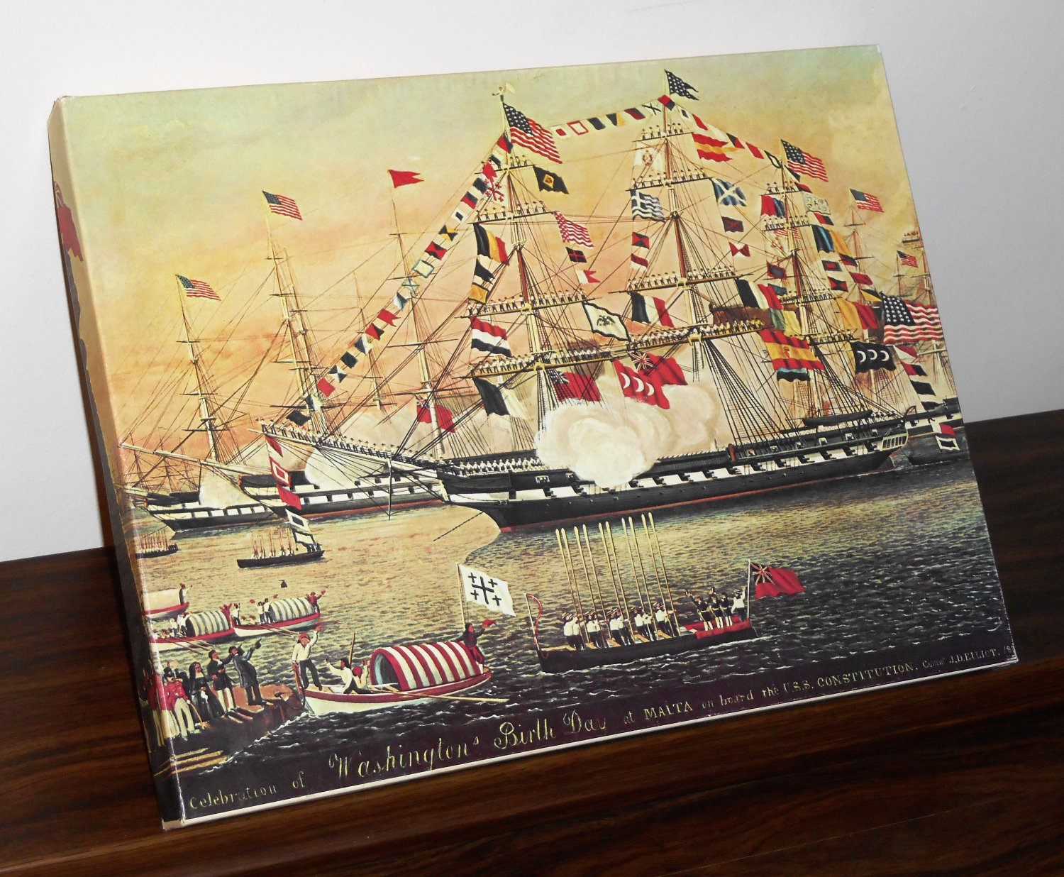 USS U.S.S. Constitution Jigsaw Puzzle 405 Pieces George Washington's Birthday at Malta Complete 1974