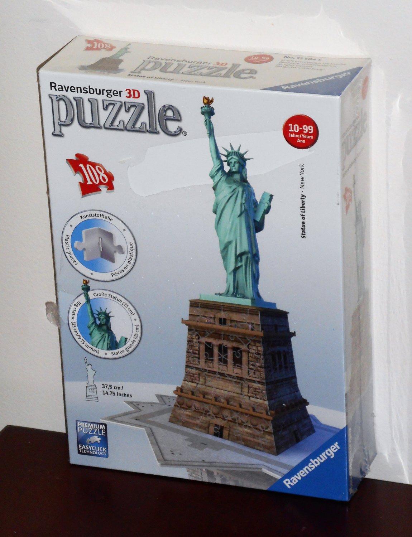Ravensburger 3D Statue of Liberty 108 Piece Jigsaw Puzzle Plastic 125845 NEW NIB