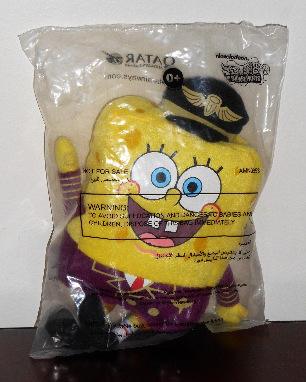 Spongebob Squarepants Plush Toy Qatar Airways Airline Pilot Nickelodeon NIP