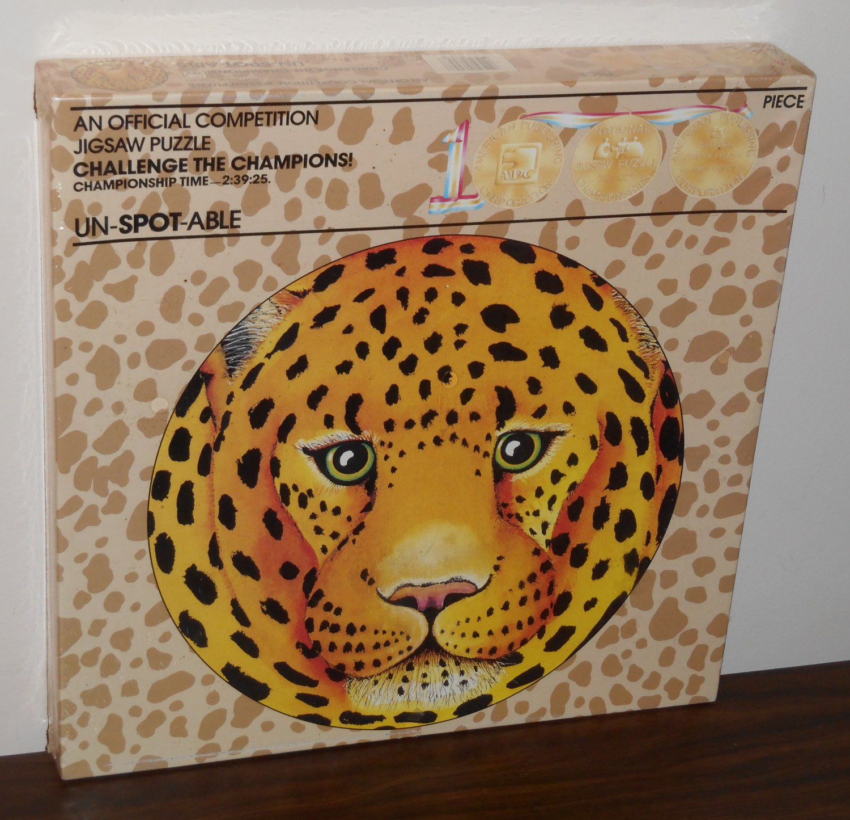 UN-SPOT-ABLE Leopard 1000 Piece Jigsaw Puzzle 6258 Official Competition APC Circular 1987 NIB