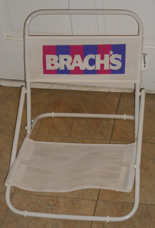 Brach's Brachs Candy Confections Folding Beach Chair White with Logo Tubular Metal Frame