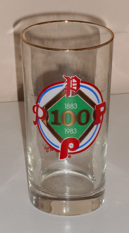 Philadelphia Phillies Drinking Glass Tumbler Roy Rogers Promo 1883-1983 100 Years Libbey