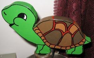 Wood Handpainted Garden Turtle