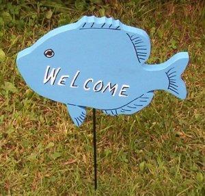 Gone Fishing Fish Garden Sign