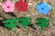 Petunias set of 3 flowers