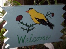 Goldfinch Welcome sign